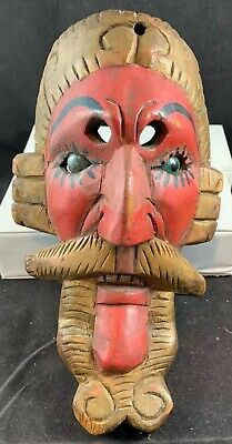 Rare Mexico Old Man Diablo Wood Carved Mask Glass Marble Eyes Dance Ceremonial