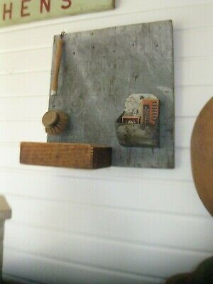 ANTIQUE WOOD WALL BOX DRY BLUE PAINT primitive early
