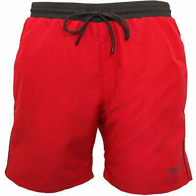 BOSS Starfish Men's Swim Shorts, Cerise with charcoal contrast