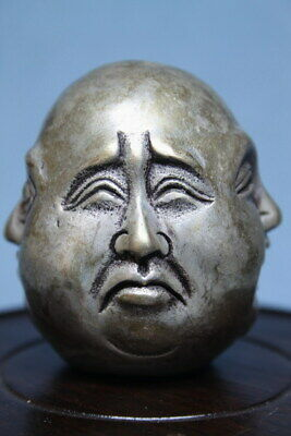 Collectable Ancient Miao Silver Carved Four Face Expression Auspicious Statue