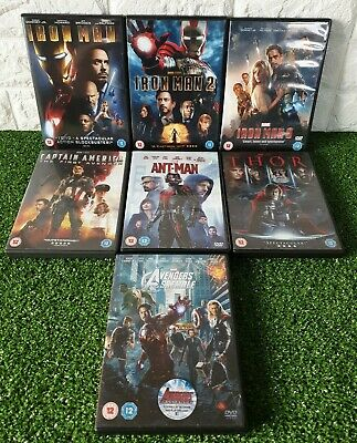 MARVEL Avengers DvD Bundle Assemble, Iron man trilogy, Thor, Ant man VGC