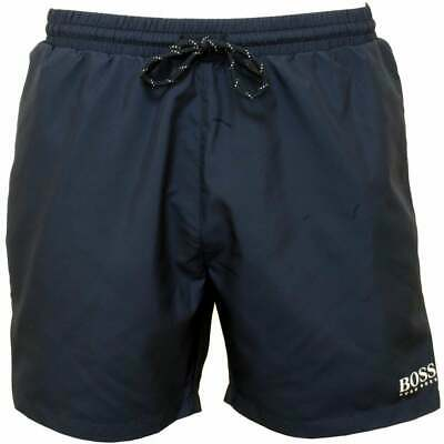 BOSS Starfish Men's Swim Shorts, Royal Blue with white contrast