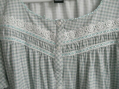 Delicate Blue Ribbon Lace Plaid Full Front Snap Comfortable NIGHTGOWN Pajamma XL