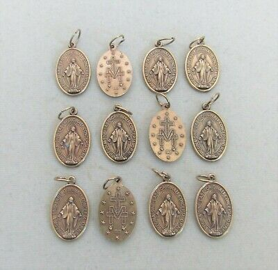 """Lot 12 Miraculous Medal Charms Holy Medals 7/8"""" Virgin Mary BRONZE finish ITALY"""