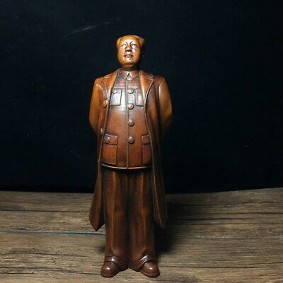 Collectable Auspicious Boxwood Carved Great Leader China Lucky Exquisite Statue