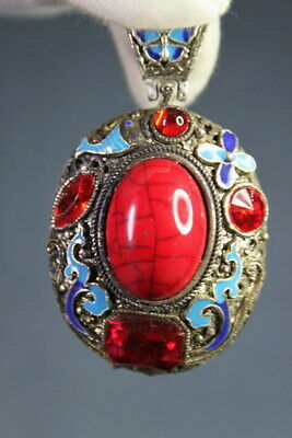 Handicraft Chinese Miao Silver Carved Butterflies & Red Agate Exquisite Pendant