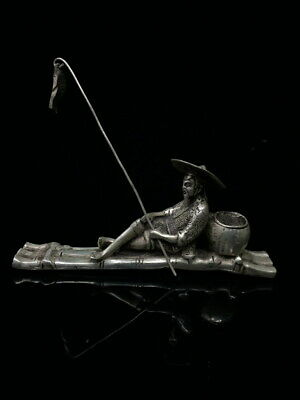 Collectable Decor Miao Silver Carved Old Man Fishing Auspicious Beautiful Statue