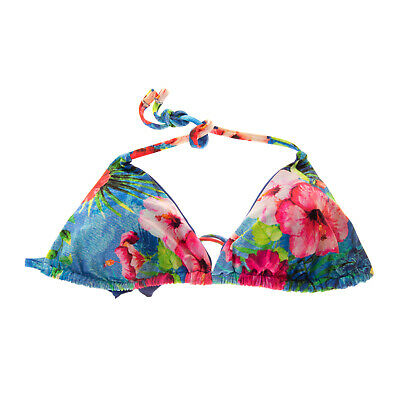 Triangle Bikini Top Size M Floral Removable Pads Halterneck Made in Italy