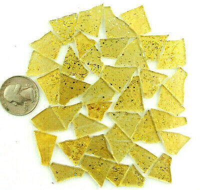 YELLOW Glitter Glass Mosaic Tile by Makena Tile 50 pieces