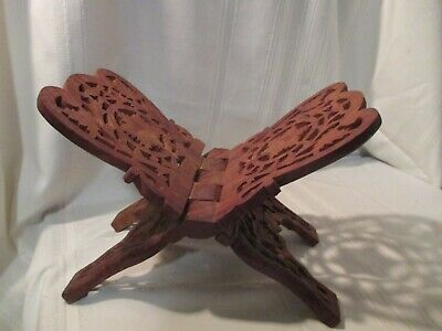Vintage Wood Book Folding Stand Rack Hand Carved India Floral Bible Holder