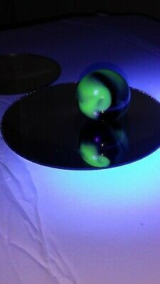 """Opaque 1"""" Black Blue & Gray Hues UV Reactive Slightly out of round"""