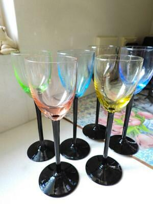 Harlequin French Long Stemmed Wine Glasses - Hand Blown & Unique Made in France