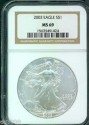 2003 American Silver Eagle S$1 ASE NGC MS69 MS-69  !!!