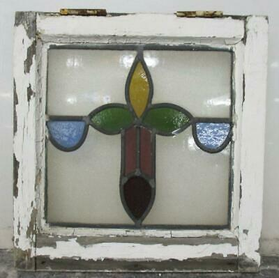 "OLD ENGLISH LEADED STAINED GLASS WINDOW Pretty Floral Cross 14.25"" W x 14.75""H"