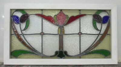 "OLD ENGLISH LEADED STAINED GLASS WINDOW TRANSOM Stunning Floral 34.25"" x 18.75"""