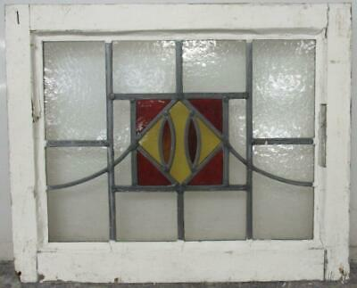 """OLD ENGLISH LEADED STAINED GLASS WINDOW Square Design W Sweep 20.5"""" x 16.75"""""""