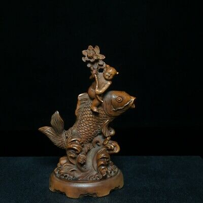 Collectable Old Boxwood Hand-Carved Bloomy Lotus & Fairchild & Fish Decor Statue