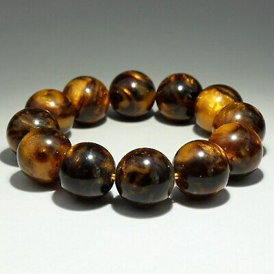 Collectable China Old Golden Coral Hand-Carved Smooth Texture Bead Rare Bracelet