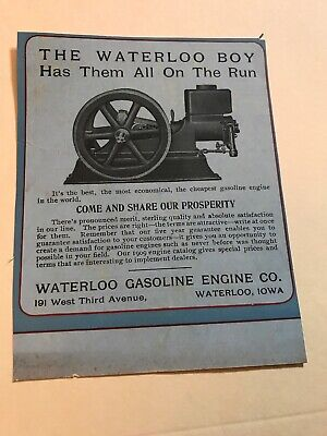Waterloo Boy Hit Miss Engine Ad Vintage Antique Stationary Engine Motor Iowa