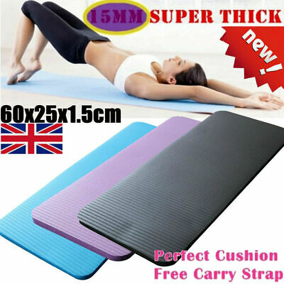 15mm Thick Yoga Mat Gym Workout Fitness Pilates Wome Exercise Mat Non Slip Pad