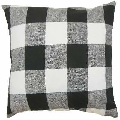 The Pillow Collection Keats Plaid Slate Down Filled Throw Pillow