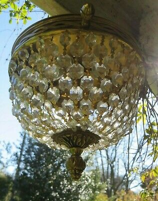 A Very Beautiful Vtg.french Brass Ceiling Lamp ~ Pampille Lustre & Berry Finial