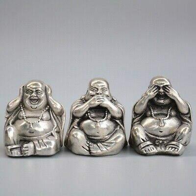 Collect China Old Miao Silver Hand-Carved Three Happy Buddha Bring Wealth Statue