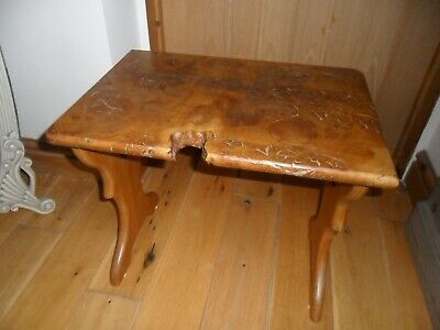 Unusual Quirky Antique Arts & Crafts Burr Elm Stool/Small Table