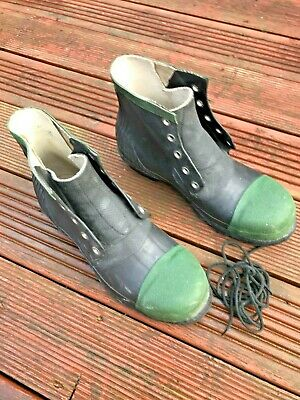 Century Retro Steel Toe Rubber ankle  Wellies lace up Wellington Boots Size 7