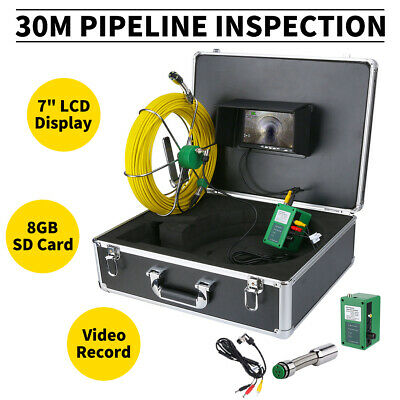 """30M Sewer Waterproof Camera 7"""" LCD Pipe Pipeline Drain Inspection System DVR 8GB"""