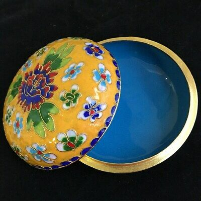 Collectable Old Cloisonne Hand-Carved Blooming Flower Delicate Multicolour Box
