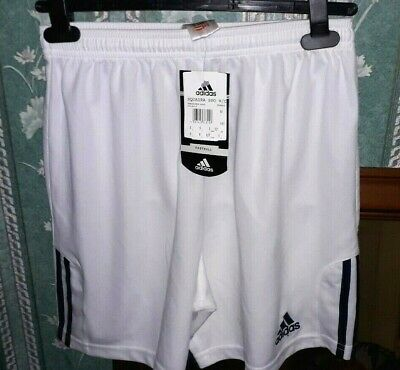"""Adidas Climalite White/Navy Football Shorts Size S 30"""" Waist Brand New With Tags"""