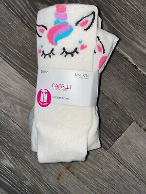 Tights New Tags Capelli Two Pair Age 7-10 Years Cream & Grey Unicorn