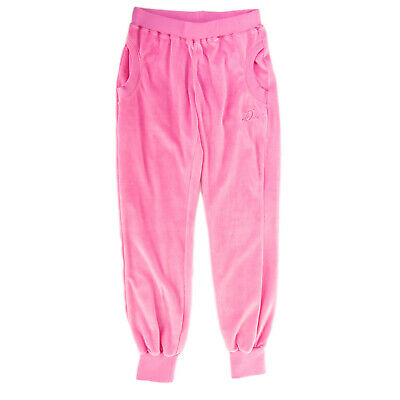 RRP €320 DIESEL Chenille Jogger Trousers Size 16Y Pink Rhinestones Cuffed