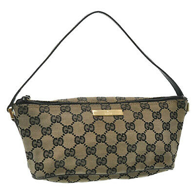 GUCCI GG Canvas Hand Pouch Navy Auth kh352