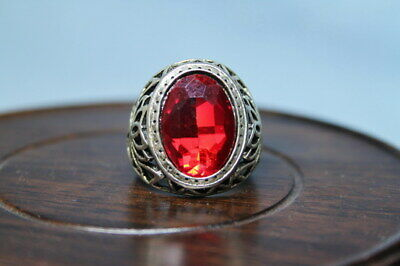 Collectable Decorative China Miao Silver Carving Ruby Atmosphere Beautiful Ring