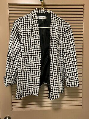 Kasper Womens Black Ivory Houndstooth Open Front Business Casual Blazer Size 16
