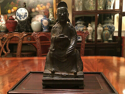 A Chinese Ming Dynasty Bronze Statue with Original Wooden Stand and Zitan Box.