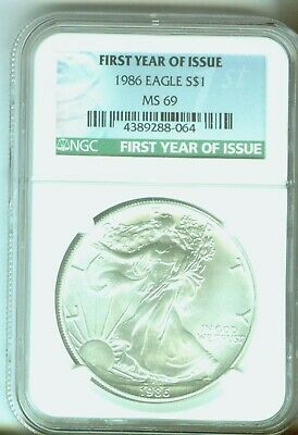 1986 Silver Eagle First Year of Issue Label NGC MS69  4389288-064