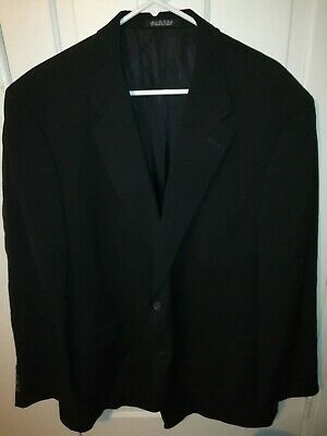 Burberry London 48R Wool Two Button Black Sport Coat Jacket Vented US Made *Flaw