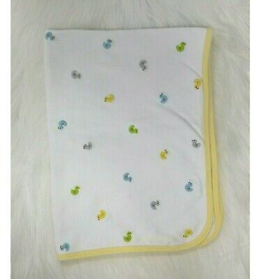 Carters Baby Blanket Cotton Ducks Embroidered White Yellow Security B88