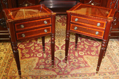 Pair Tall Inlaid Satinwood & Mahogany Banded Sheraton Night Stands Tables MINT
