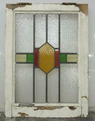 "MIDSIZE OLD ENGLISH LEADED STAINED GLASS WINDOW Vertical Geometric 17.5"" x 24"""