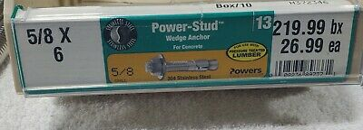 """(QTY 24) 5/8"""" x 6"""" Concrete Wedge Anchor Stainless Steel Grade 304"""