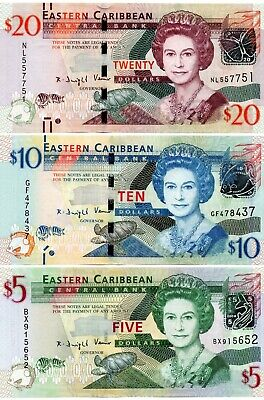 EAST CARIBBEAN STATES $20 $10 & $5 Dollars 3 x UNC Banknote Set