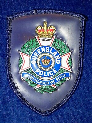 Obsolete Queensland Police Plastic Patch Leather Coat
