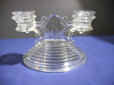 Anchor Hocking Manhattan Clear Double Candle Holder Depression Glass