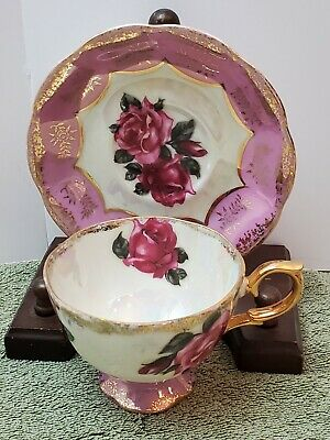 Vintage Cup & Saucer Made in Japan Roses, Pink, Gold Trim, Hand painted