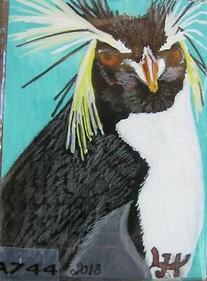 "A744     Original Acrylic Aceo Painting By Ljh       ""Penguin"""