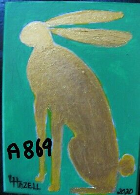 "A869    Original Acrylic Aceo Painting By Ljh    ""Pete Rabbit""  One-Of A-Kind"